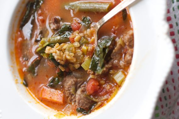 Tomato Beef Soup with Einkorn Wheat Berries and Bone Broth1 by Angela Roberts