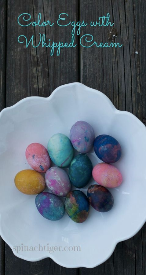 Coloring Eggs with Whipped Cream by Angela Roberts