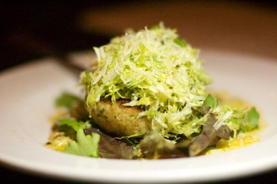 Crab Cake and Shredded Brussels Sprouts at the Yellow Porch by Angela Roberts