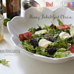 Honey-Baked Goat Cheese Salad with blackberry lemon vinaigrette