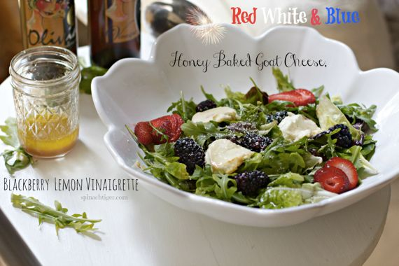 Honey Baked Goat Cheese Salad with Blackberry Lemon Vinaigrette