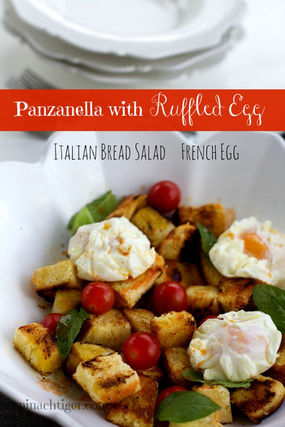 Panzanella,  Ruffled Eggs, Tabasco Maple Vinaigrette