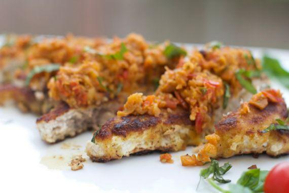 Swordfish Milanese with Eggplant Sauce with Tabasco