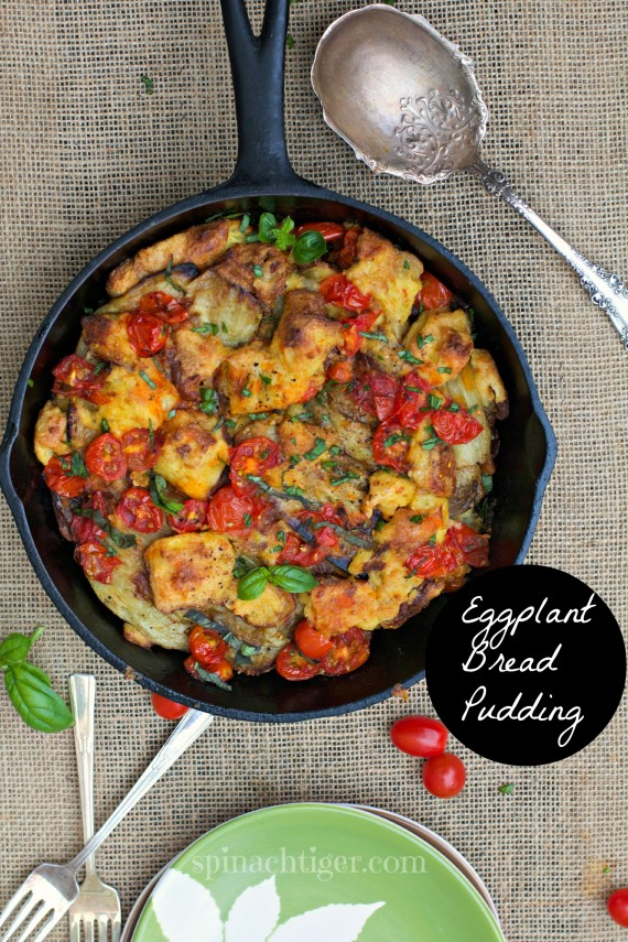 Savory Spicy Tomato Basil Eggplant Bread Pudding with Tabasco
