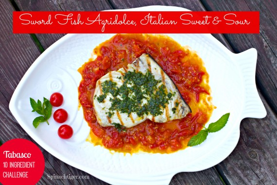 Grilled Swordfish with Salsa Verde over Tomato Agridolce, Paleo Friendly