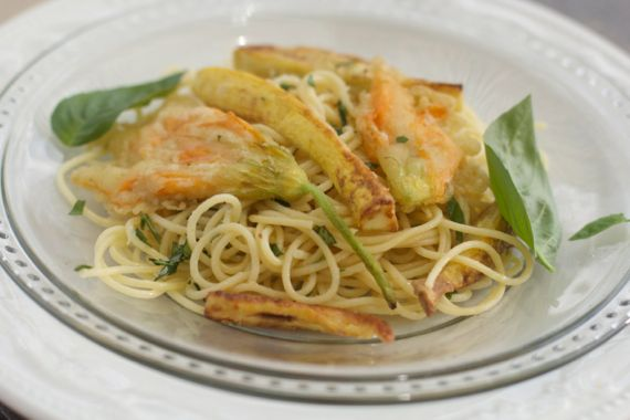 Squash Blossom Spaghetti by Angela Roberts