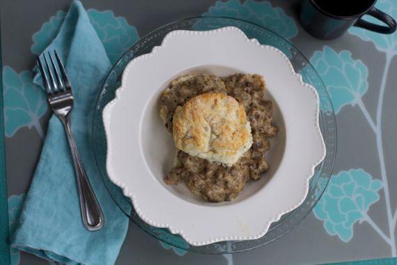 Venison Sausage Gravy with Sage Biscuits by Angela Roberts
