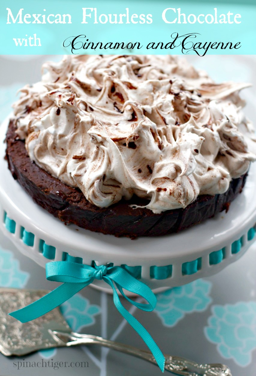 Flourless Mexican Chocolate Cake with Meringue Topping, Gluten Free