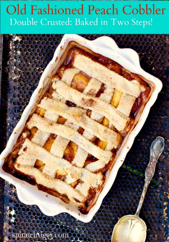 Old Fashioned Peach Cobbler from Spinach TIger