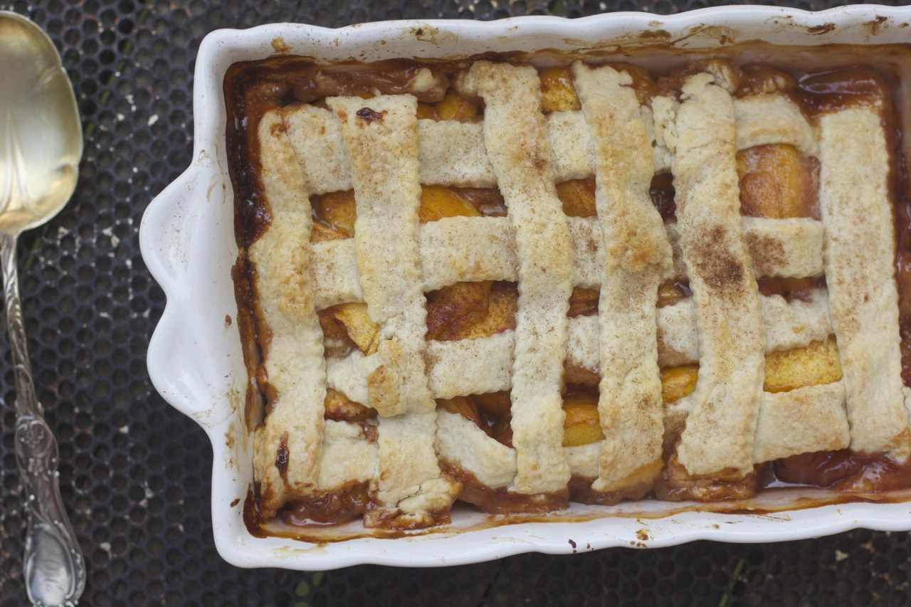 Old Fashioned Peach Cobbler with a Double Crust by Angela Roberts