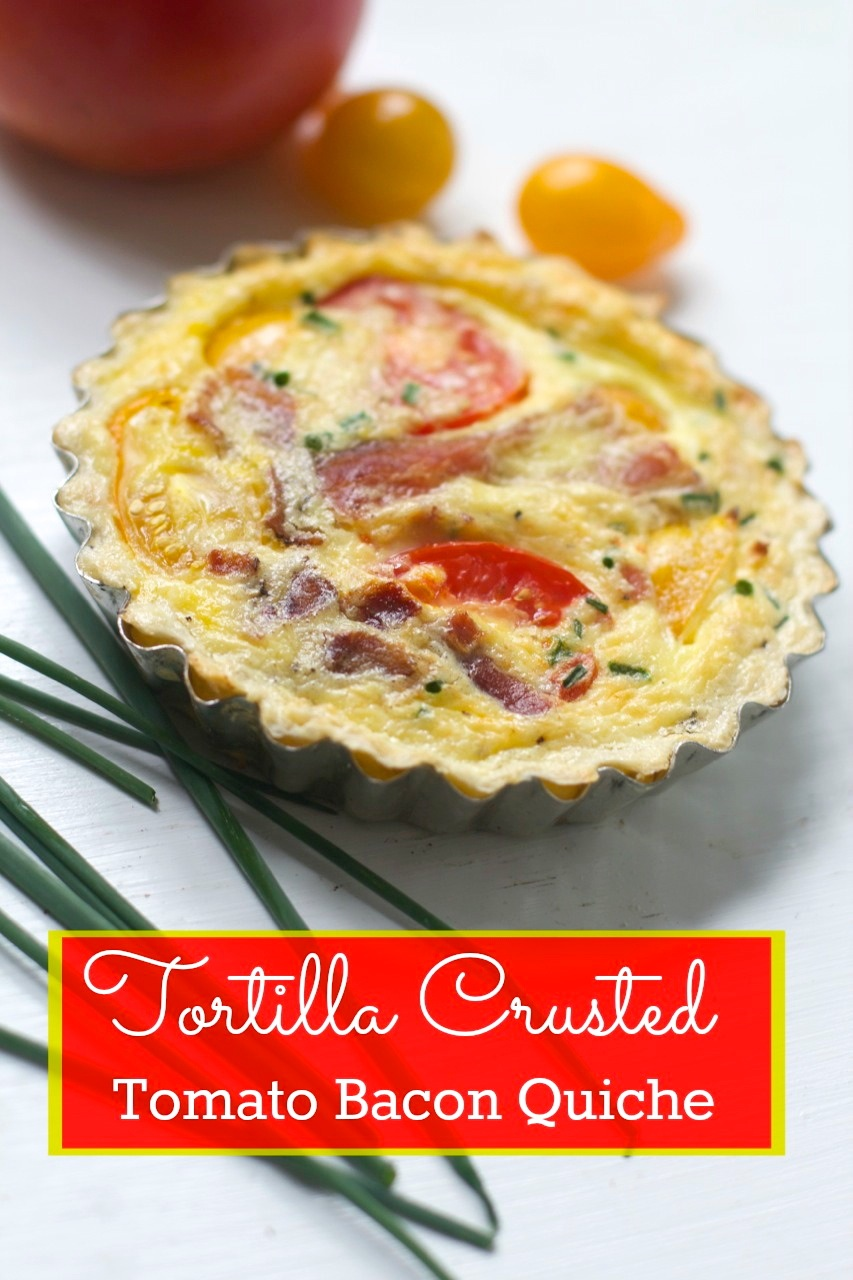 Tortilla Crusted Tomato Bacon Cheddar Quiche