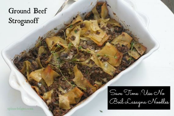 Ground Beef Stroganoff Recipe with Lasagna Noodles by Angela Roberts