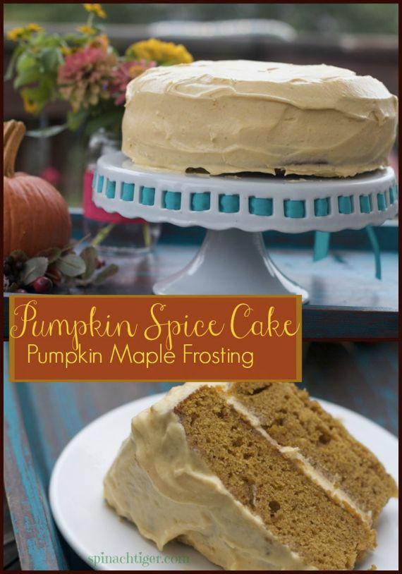 Pumpkin Spice Cake Recipe with Pumpkin Maple Frosting by Angela Roberts