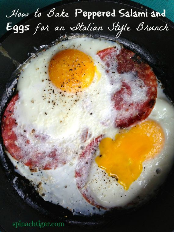 Peppered Salami Oven Baked Eggs By Angela Roberts