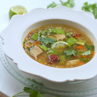 Healthy Mexican Chicken Rice Soup Recipe (Caldo Cantina)