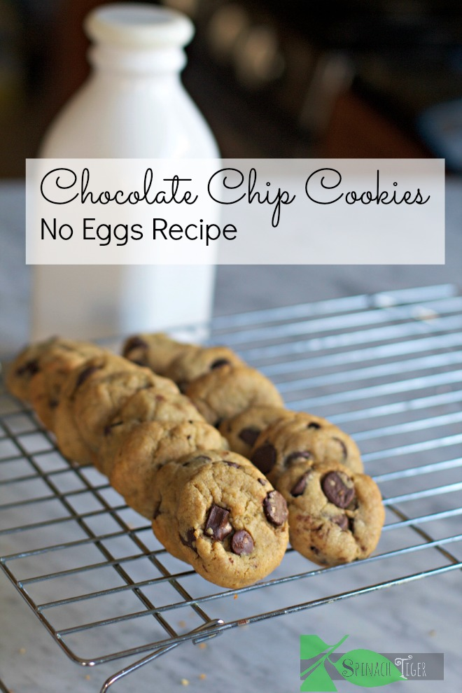 Chocolate Chip Cookies with No Eggs using flax eggs from Spinach Tiger