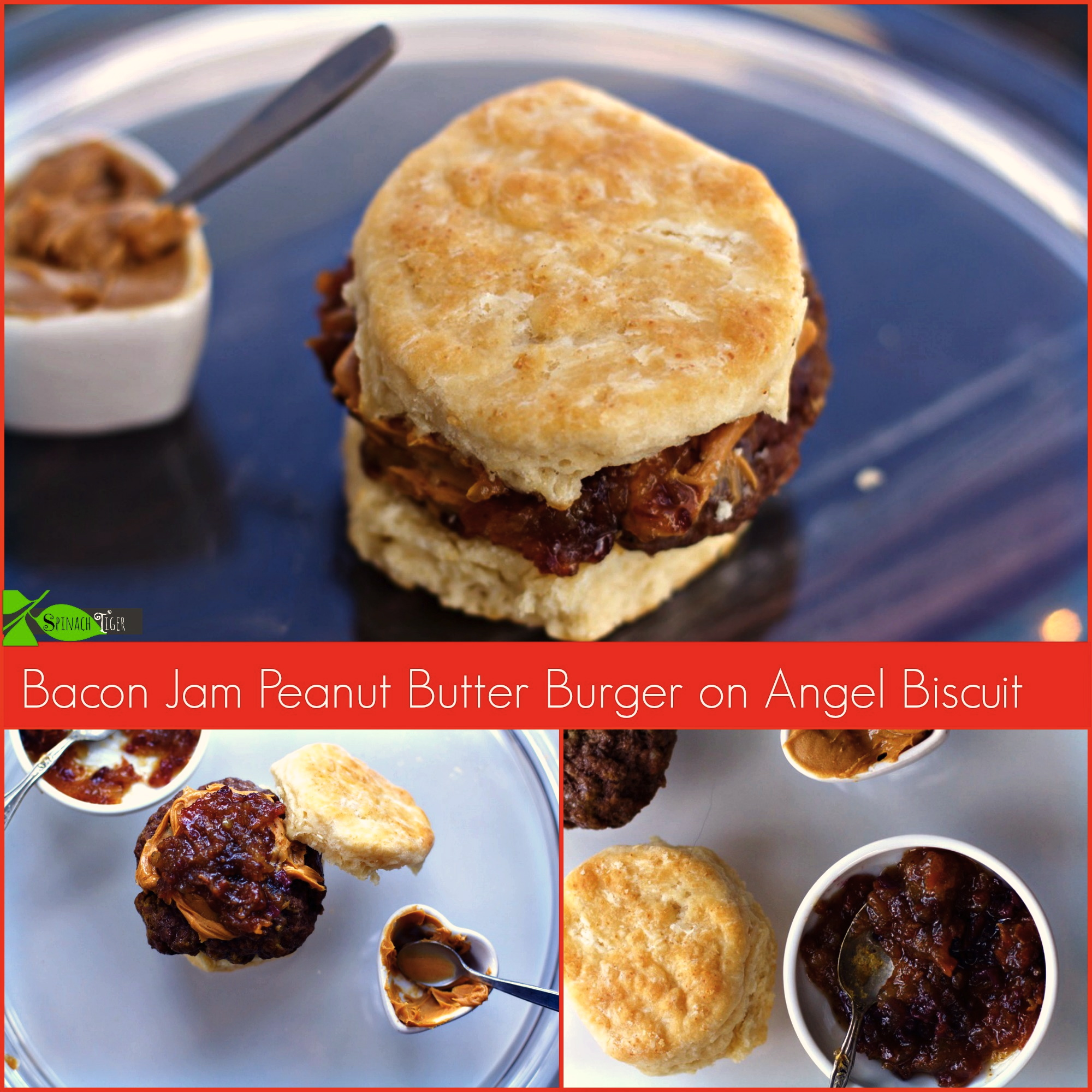 Bacon Jam Peanut Butter Burger on Biscuit by Angela Roberts