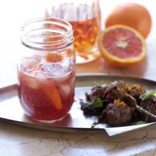 Cara Cara Orange Old Fashioned Paired with Bacon Shallot Party Meatballs
