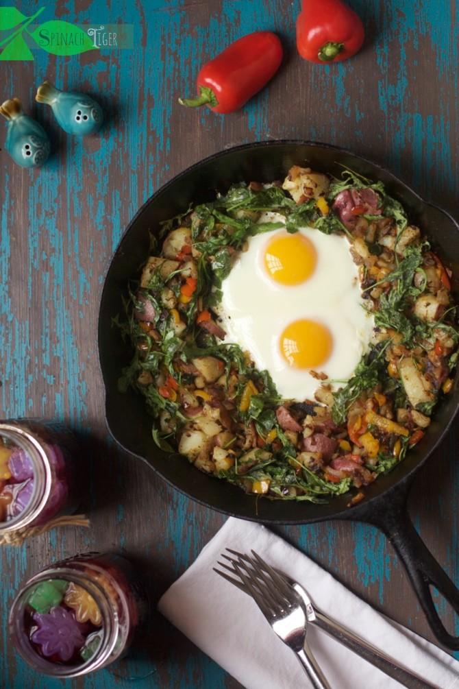 Arugula Hash & Baked Eggs by Angela Roberts