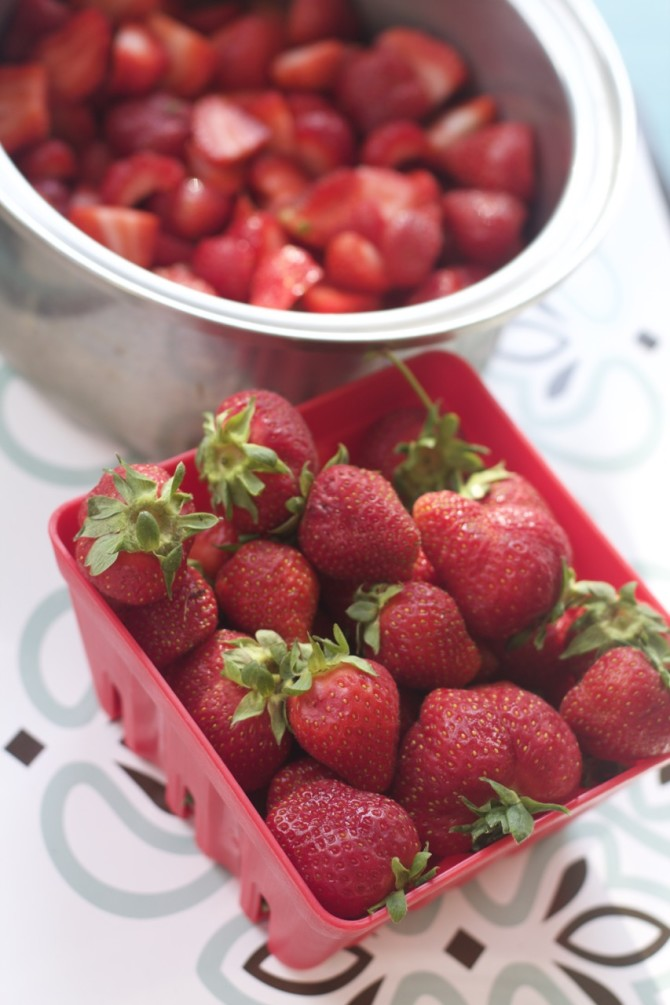 Strawberries for Strawberry Sauce by Angela Roberts