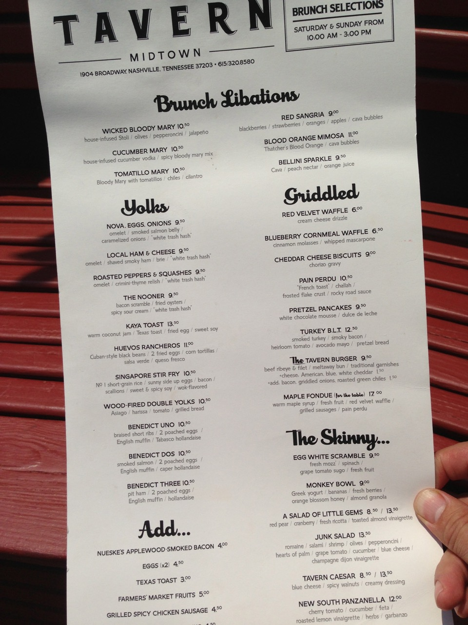 Brunch Menu at the Tavern in Nashville
