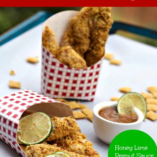 Corn Chex Crusted Chicken Strips with Peanut Honey Lime Sauce