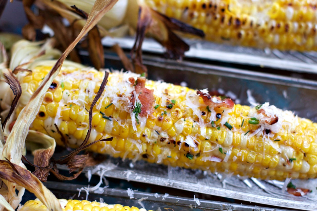 Grill Corn with Cheese & Bacon by Spinach TIger