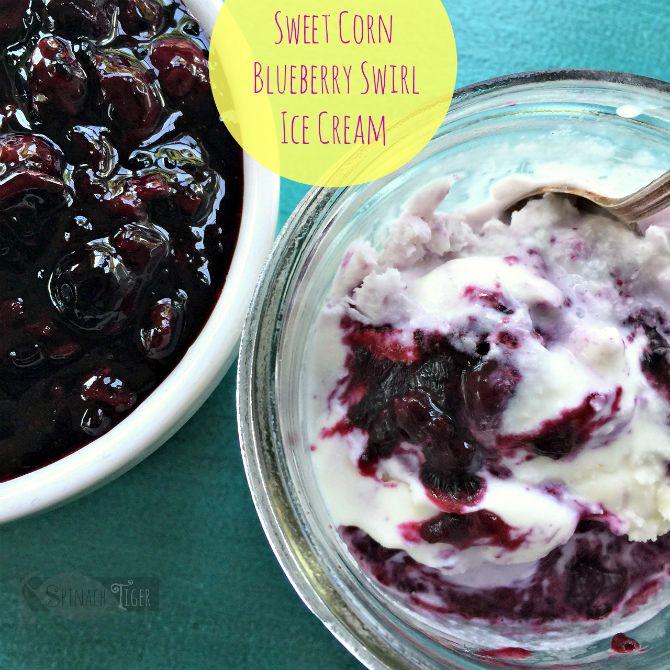 Sweet Corn Blueberry Swirl Ice Cream