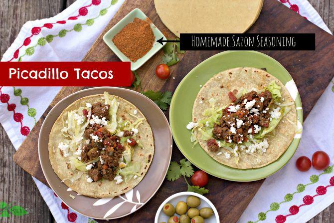 Picaillo Taco and Homemade Sazon Seasoning