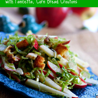 Apple and Brussels Sprouts Salad with Pancetta and Corn Bread Croutons