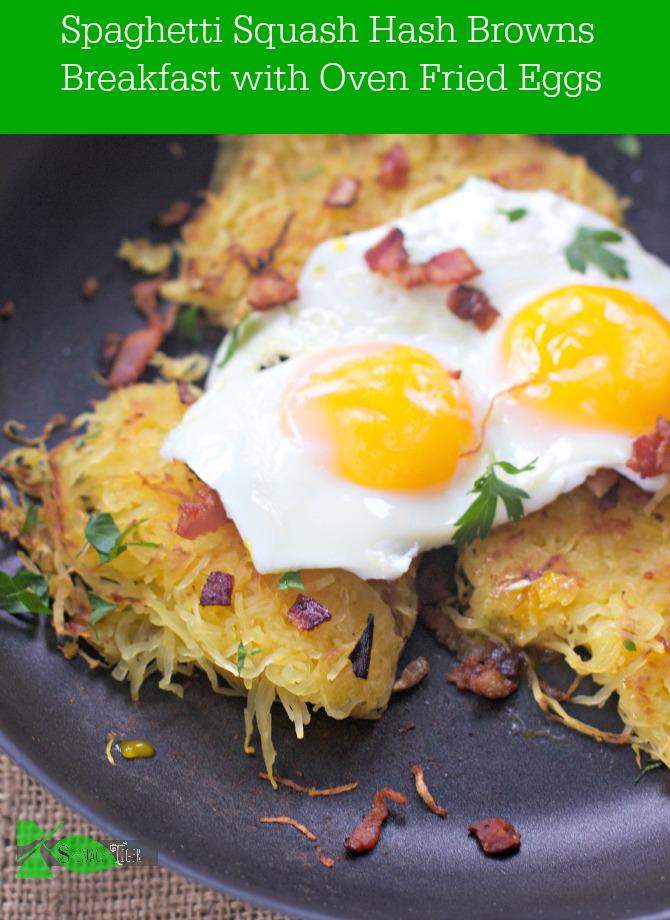 Spaghetti Squash Hash Browns with Oven Fried Eggs