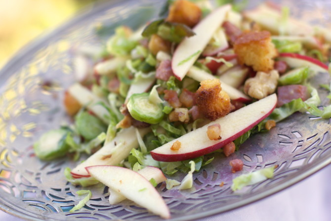 Apple Brussels Sprouts Salad with Corn Bread Croutons