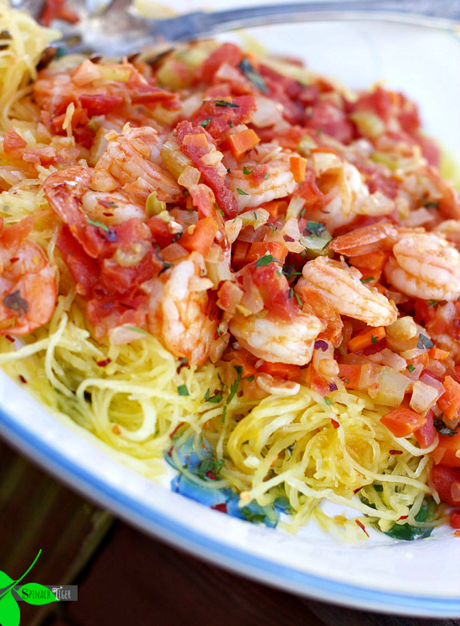 Spaghetti Squash with Shrimp from Angela Roberts