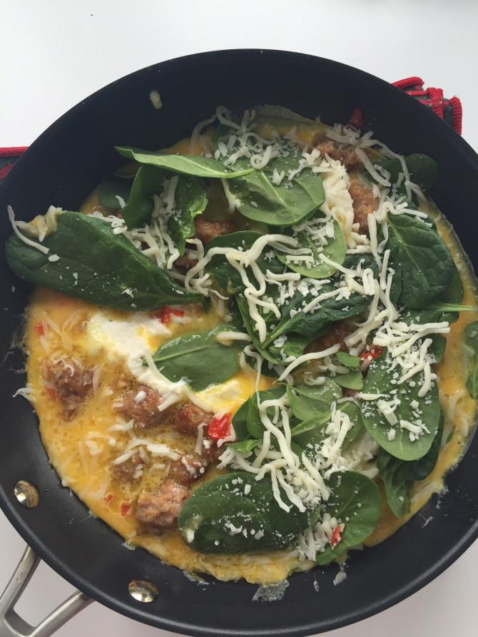 Sausage Ricotta Spinach Frittata