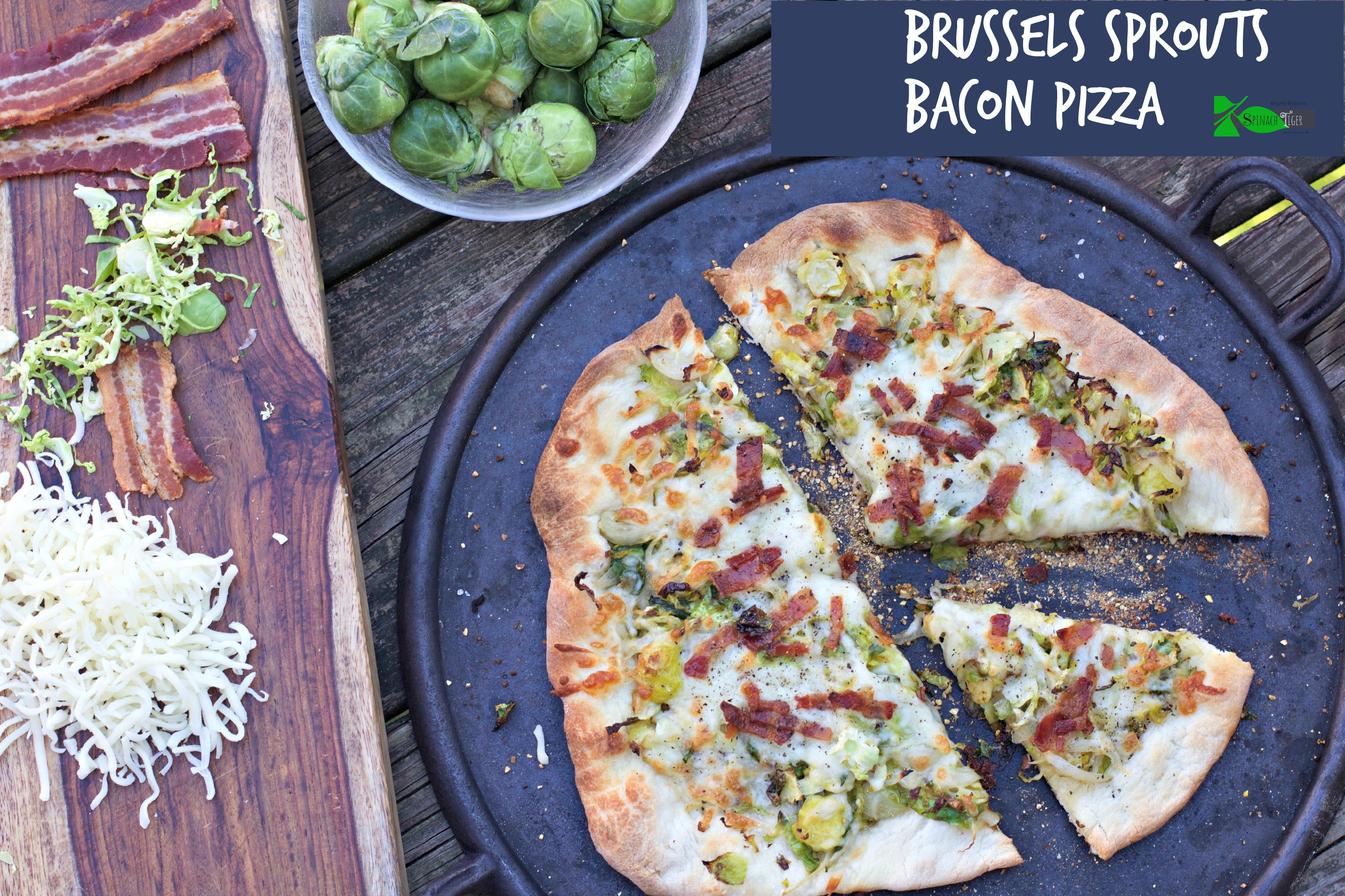 Brussels Sprouts Bacon Pizza from Spinach Tiger