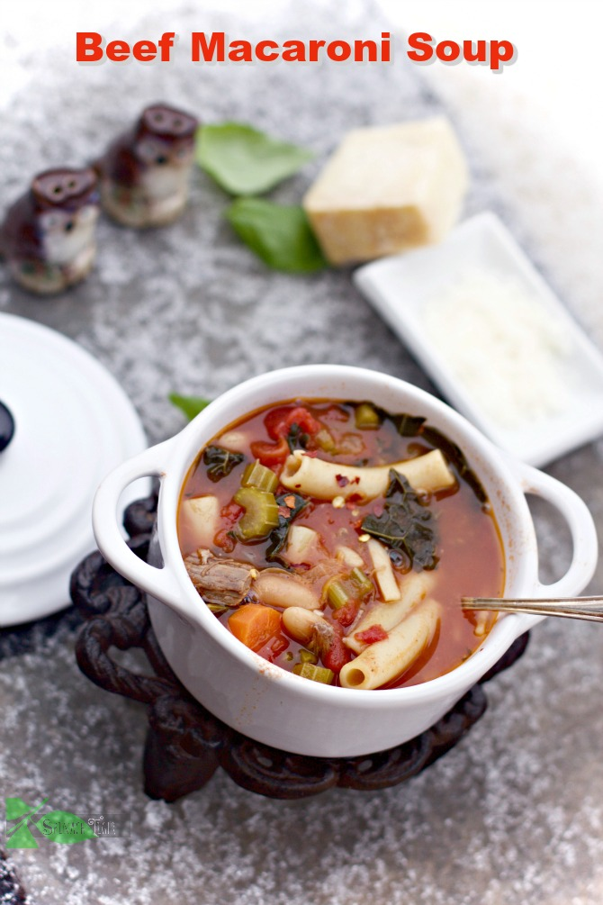 Beef and Bean Macaroni Soup from Roast Beef leftovers by Spinach Tiger