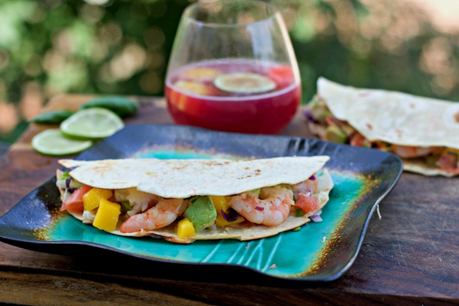 Mango Grapefruit Avocado Shrimp Taco Recipe from Spinach Tiger