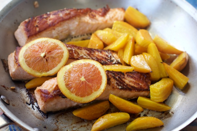 Salmon with Golden Beets: Easy Healthy Recipes from Spinach Tiger