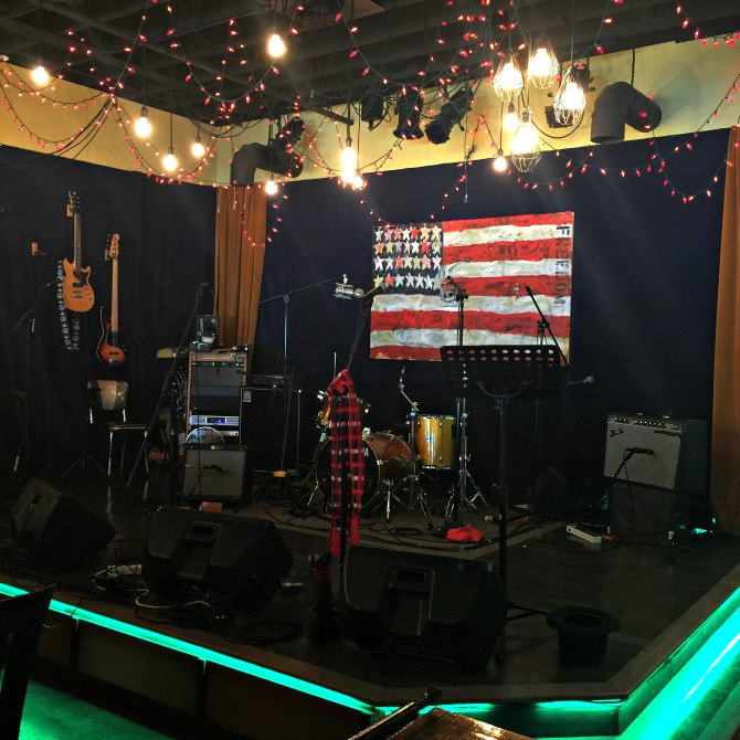 Stage at Family Wash Garage Coffee by Angela Roberts
