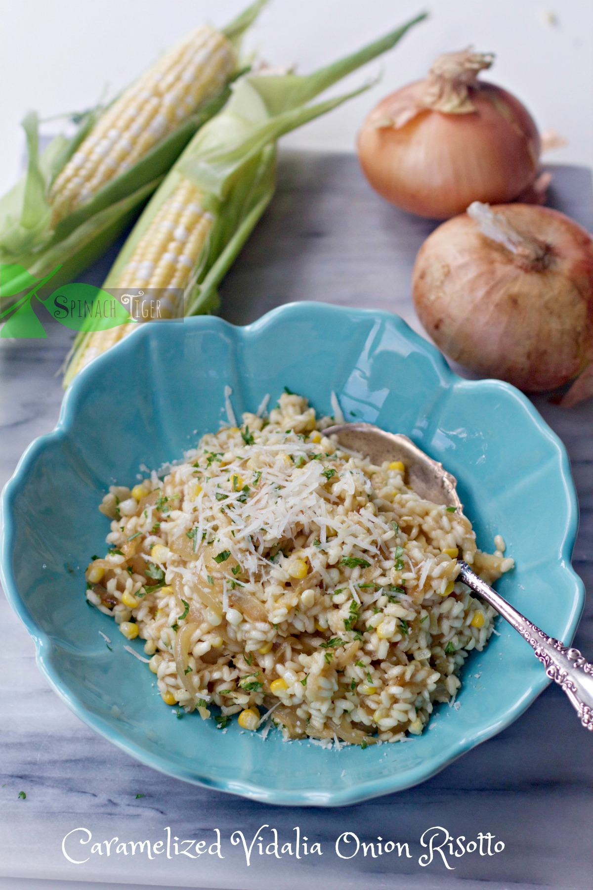 Caramelized Onion Risotto from Spinach Tiger