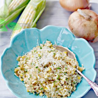 Caramelized Onion Risotto with Sweet Corn