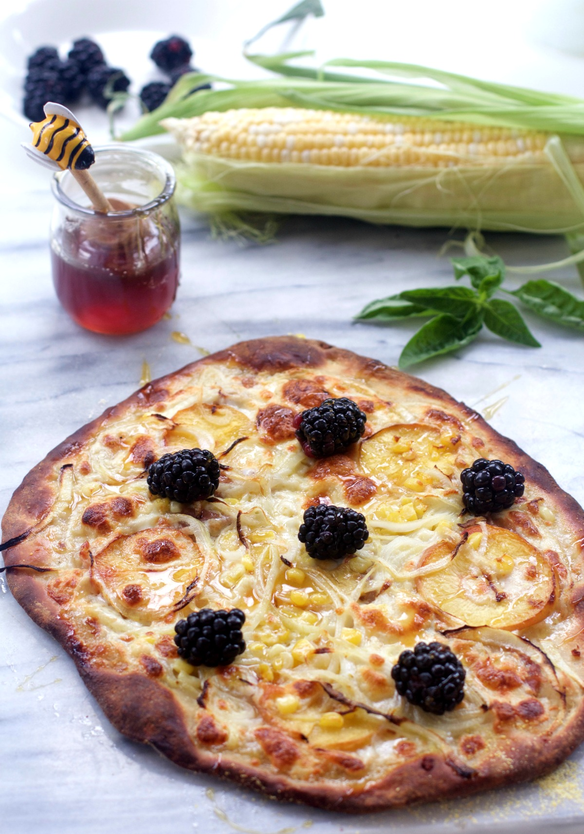 Vidalia Onion Summer Fruit Pizza with Peaches, Fresh Corn, Blackberries by Spinach TIger