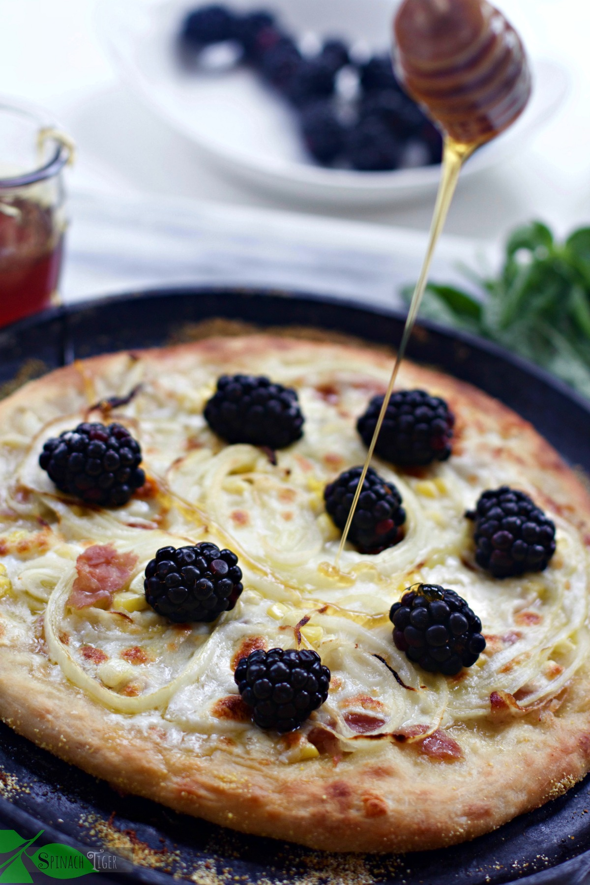 Vidalia Onion Pizza with Blackberries by Spinach TIger