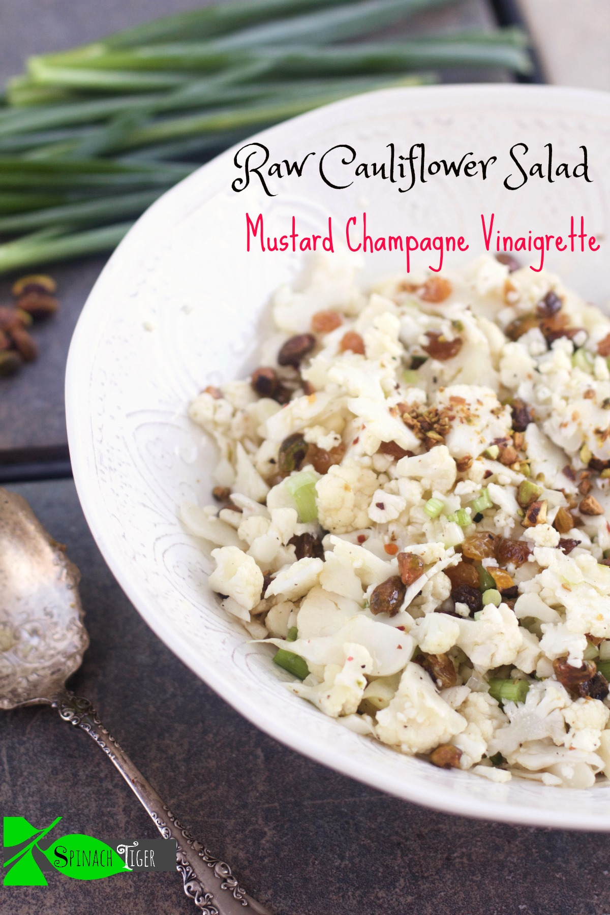 Raw Cauliflower Salad and Holiday Side Dishes from Spinach Tiger