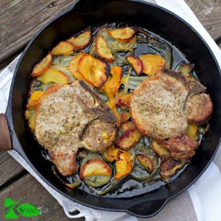 Oven Fried Pork Chops with Peaches