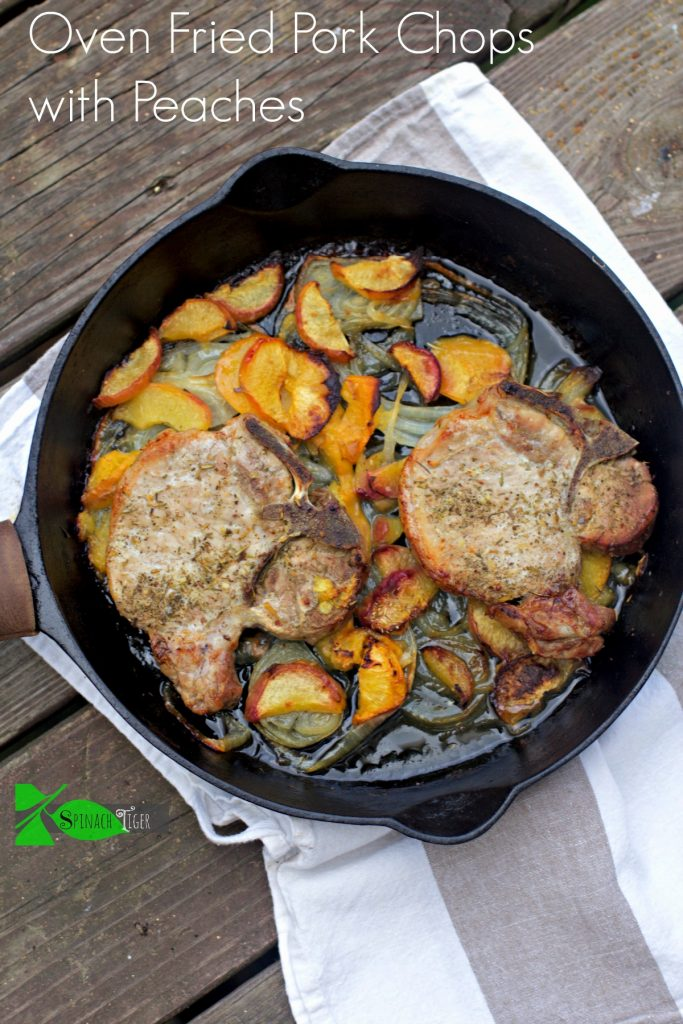 Oven Fried Pork Chops with Peaches from Spinach Tiger