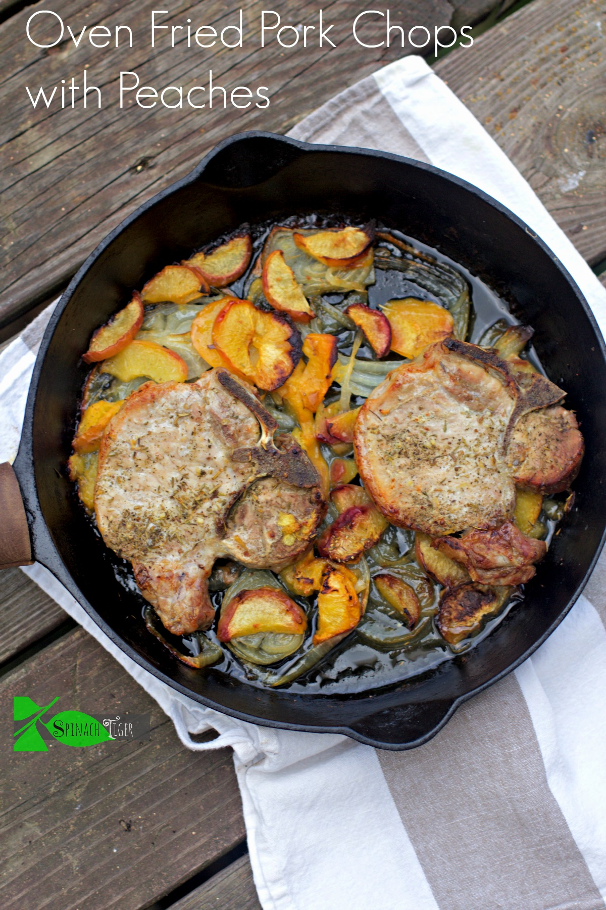 Tender pork chops baked in oven with peaches or nectarines. Transition summer into Fall with delicious brined and oven baked pork chops with peaches. #ovenfriedporkchops #peaches #porkchoprecipe #spinachtiger via @angelaroberts