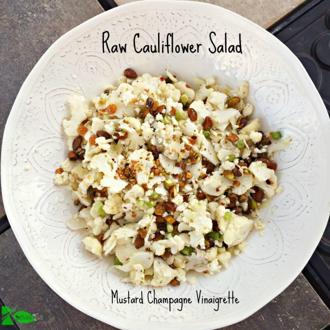 Low Carb Cauliflower Recipes: Raw Cauliflower salad with mustard champagne vinaigrette