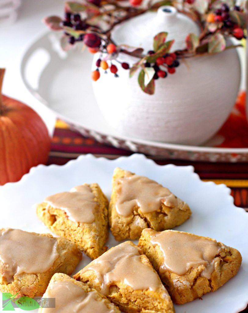Best Gluten Free Pumpkin Scone with Maple Glaze from Spinach Tiger