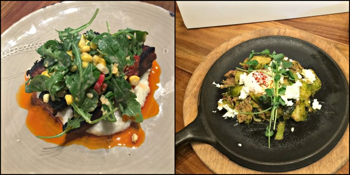 Dishes with Grits at Honeysuckle Local & Social by angela roberts